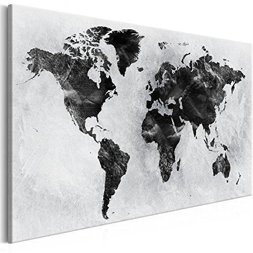murando - Bilder Weltkarte 120x80 cm Vlies Leinwandbild 1 TLG Kunstdruck modern Wandbilder XXL Wanddekoration Design Wand Bild - schwarz-Weiss grau k-A-0408-b-a