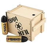 MFH 12er Set 9 MM Energy Drink in Patronenform à 0,25l mit praktischer Geschenkbox aus Holz