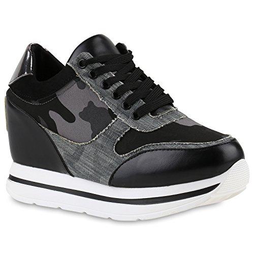 Damen Sneakers | Sportschuhe Lack Glitzer | Sneaker Wedges Metallic Pailetten | Plateauschuhe Kroko Camouflage | Keilabsatz Schuhe Schwarz Camouflage