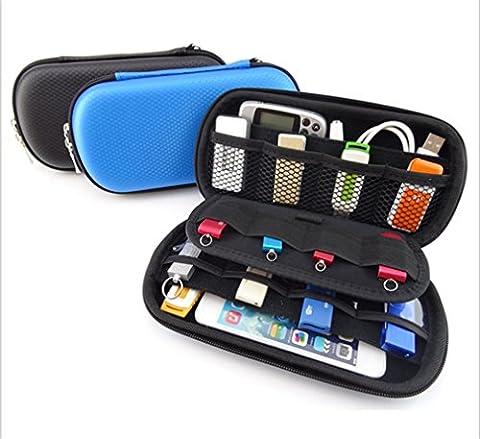 Big Capability Universal Electronics Accessories Case/USB Drive Shuttle Bag/ USB Key Bag Blue