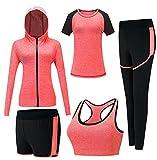 Set da palestra da donna, tuta da jogging, tuta da ginnastica, tuta fitness, completo da allenamento, 5 pezzi