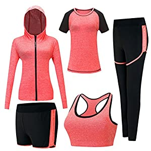 Keephen Damen Sportsuit Set, Lauf Jogging Trainingsanzug Gym Fitness Outfit Trainings Sweatsuit 5 Stück Set
