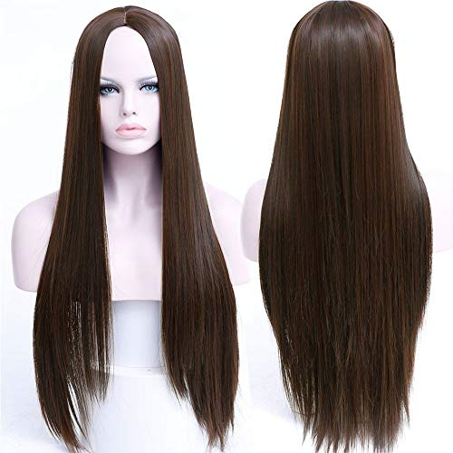 r 30 Zoll Lange Gerade Perücke Frisuren Hitzebeständige Synthetische Perücken Für Frauen Lange Weibliche Perücken Frauen, M2 ()