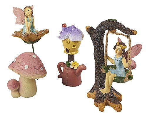 ten-Fee-Set-Feen Miniatur Kunstharz Figuren Statuen mit Zubehör, Dekorative Spring Flower Garden Ornaments für Outdoor, Rasen, Hof, Blumen Topf, und Home Dekoration ()