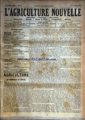 AGRICULTURE NOUVELLE (L') [No 600] du 18/10/1902 - AGRICULTURE PAR MARCHAL - GUENAUX - VIMEUX - BERTHOT - TROUDE - VACHER - VITICULTURE PAR BATTANCHON - HORTICULTURE PAR MAURION ET TRIBONDEAU - ELEVAGE PAR GEORGE ET BRECHEMIN - ARBORICULTURE EN ROUMANIE PAR LATIERE par Collectif