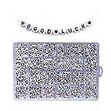 Dynamicoz WATERFAIL 1200 Pezzi A-Z Lettera E Cuore Perline, Perle Tonde/Cubo Lettera Singola, per Gioielli Creazione di Bambini E Artigianato E Braccialetti con Nome
