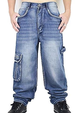 Ghope Hip Hop Homme baggy Harem bouffant Sarouel Jean Pantalons Blau Denim Pantalons de planche à roulettes hip-hop