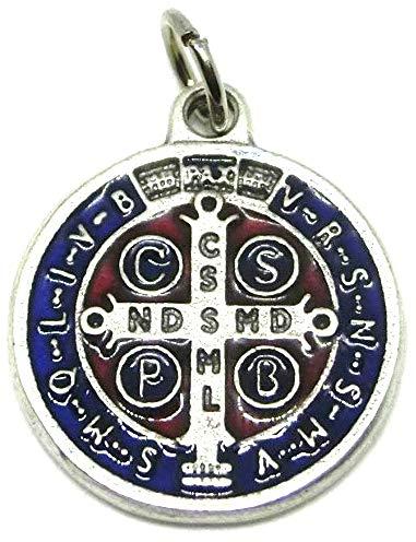 60.048.31Medaille des Heiligen Benedikt Silber Emaille Handarbeit Größe 2cm mit Ring