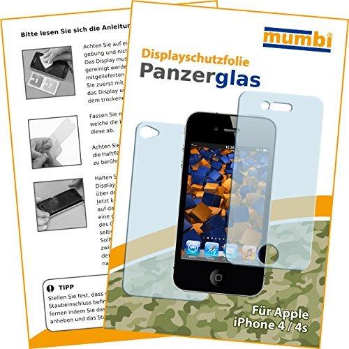 e kompatibel mit Apple iPhone 4 Panzerfolie, iPhone 4s Panzerfolie, Schutzfolie Schutzglas (2x) ()