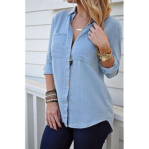 XJoel de manga larga Slim Fit Jean del dril de algodón blusa de la camisa M