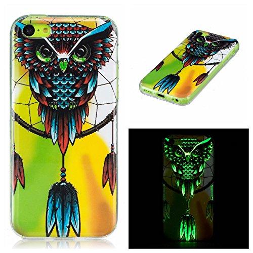 OnlyCase iPhone 5C Hülle Handyhülle Schutzhülle, Nachtleuchtender grüner Glühen im dunklen Handy Etui Anti-Kratzer Anti-Staub Case Cover stoßsicherer Mobiltelefon-Kasten, Eule