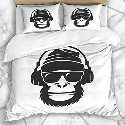 Bettbezug-Sets Musik Gorilla Hat Sonnenbrillen Kopfhörer Hip Cool Monkey Sports Recreation Head Rap Mikrofaser Bettwäsche mit 2 Pillow Shams