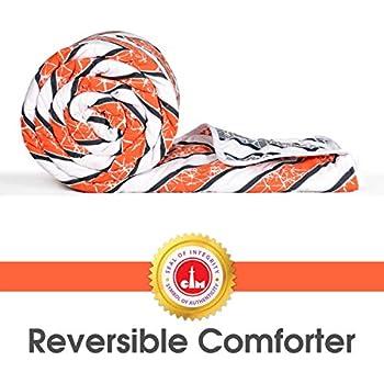 Divine Casa Microfibre Comforter/Blanket/Quilt/Duvet Lightweight, All Weather Single Comforter, Abstract-Orange and Grey (110 GSM)