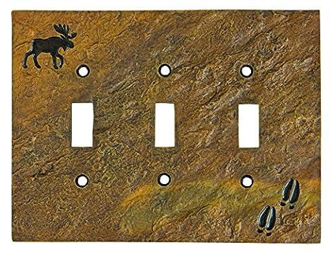 Big Sky Carvers 30170446 Moose and Tracks Triple Switch Plate by Big Sky Carvers