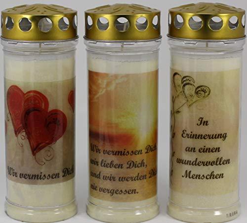 Kerzen Junglas 3 Grablichter, Grabkerzen, 3er Set- 21x7,5 cm - 3863 - ca. 7 Tage Brenndauer je Grablicht - Trauerkerze mit Motiv und Spruch - Motivkerze - Gedenkkerze