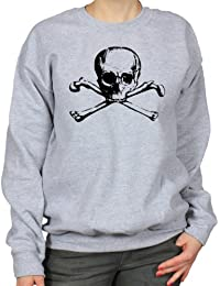 Skull And Bones Illustration Skeleton Tattoo Rock 'n' Roll Womens Sweatshirt