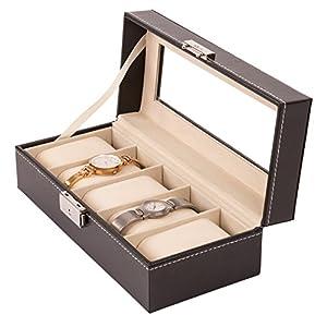 TRESKO® Uhrenbox für 5 Uhren Uhrenkasten Uhrenschatulle Uhrenkoffer Uhrenaufbewahrung aus Kunstleder, schwarz