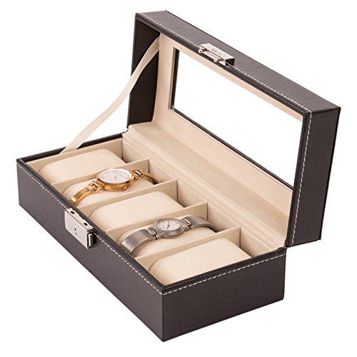 tresko-Relojes-Caja-para-5-relojes-Reloj-Joyero-maletn-Reloj-retencin-de-reloj-de-piel-sinttica-color-negro