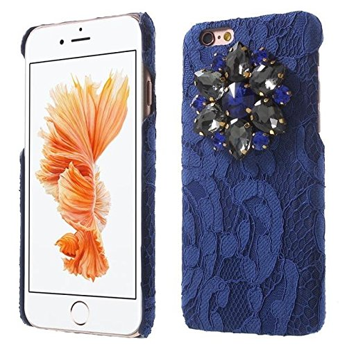 Étincelle strass Dentelle Coated Case Mobile Phone pour iPhone 6s blue