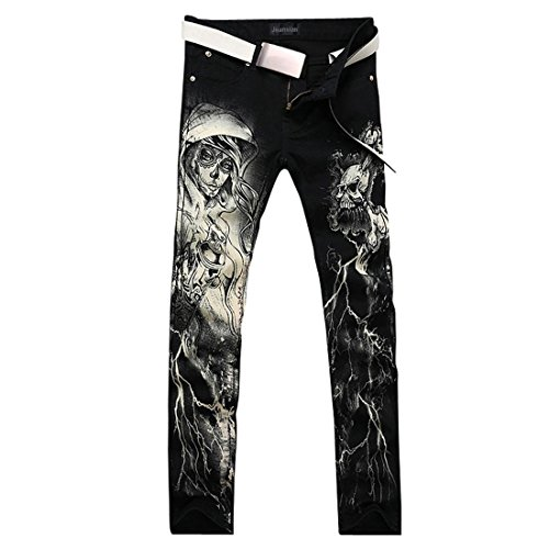 Jeansian Hommes Peinte Stretch Slim Denim Pantalons Print Casual With Flower Pants MJB017 Black