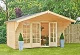 Outdoor Gartenhaus / Blockbohlenhaus Eva 300 Sockelmaß: 380 x 300 cm Dachtsand: 460 x 460 cm Wandstärke: 40 mm Rauminhalt: 25 cbm Ausführung: naturbelassen Material: Massivholz