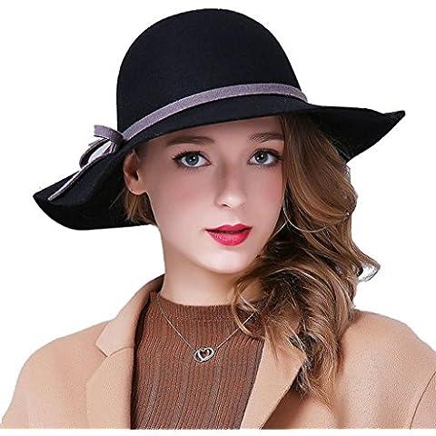 WE&ZHE Lana femminile cappelli di feltro grandi cappelli cappello a tesa larga Bowler Moda regolabile elegante bordo largo In autunno e in inverno nero