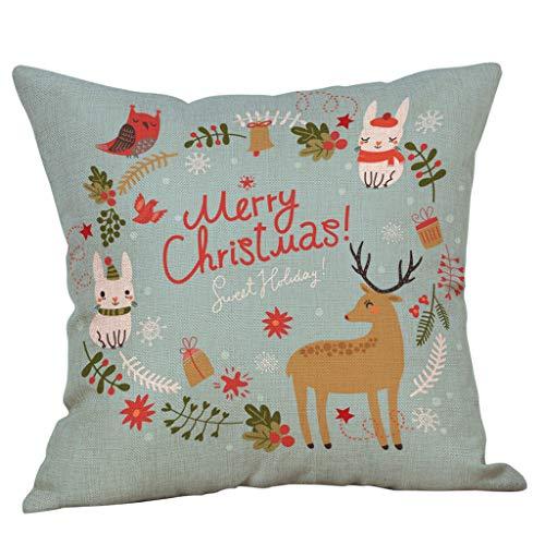 LILIHOT Frohe Weihnachten Kissenbezüge Baumwolle Leinen Sofa Kissenbezug Super Weich Home Dekoration Kopfkissenbezug Pillowcase Sofakissen für Wohnzimmer Sofa Bed -