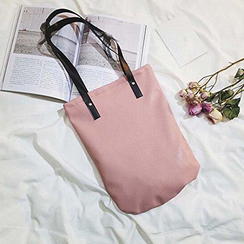 BZLine® Frauen Mädchen Leder Shopping Handtasche Tote Shopper Taschen, 38cm(L)*45cm(H)*2cm(W) Pink