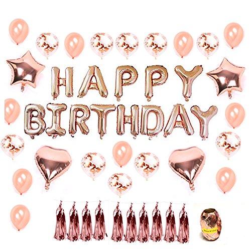 """Hotchy Geburtstag Dekoration Rosegold, Geburtstagsdeko Set mit 16"""" Happy Birthday Banner, 20pcs 12"""" Konfetti Latex Ballons und 4pcs 18"""" Folie Herz Sterne Ballons mit Gold String für Party, Geburtstag"""