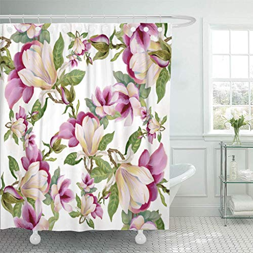 HOJJP Duschvorhang Pattern Pink April Colorful Floral on White Red Artistic Shower Curtains Sets with Hooks 72 x 72 Inches Waterproof Polyester Fabric (April Showers-stoff)