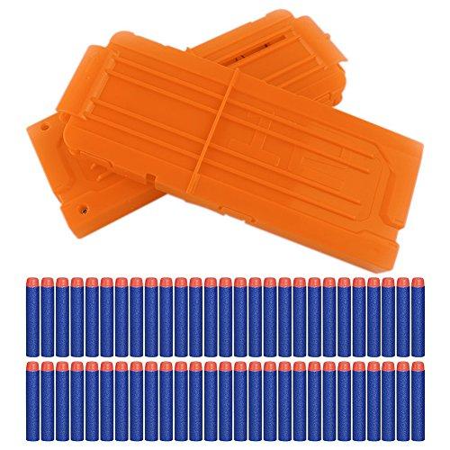 2 Stück Nerf Darts Schnell Nachladen Clip mit 60 Stück Elite 7,2cm Darts für Nerf N-Strike Elite