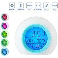 Pawaca Wecker LED Wake Up Light - Schlummerfunktion, Temperaturanzeige, Datumsanzeige und 6 Alarme, 7 Farben,... preisvergleich bei billige-tabletten.eu