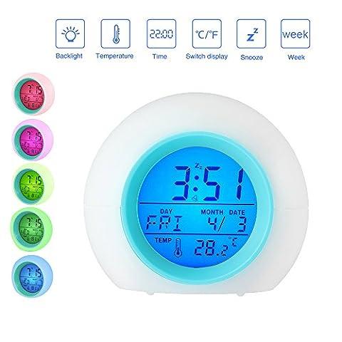 Pawaca Wecker LED Wake Up Light - Schlummerfunktion, Temperaturanzeige, Datumsanzeige und 6 Alarme, 7 Farben, Nachtlicht Wecker für für Erwachsene, Kinder, Kleinkinder, Jugendliche(Weiß)