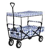 Sekey Faltbarer Bollerwagen mit Dach Faltwagen Handwagen klappbar Folding Wagon Outdoor Gartenanhänger Transportwagen mit Hecktasche