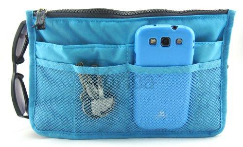 Periea - Organiseur de sac à main, 12 Compartiments - Chelsy (Bleu brillant, Moyen: H17.5 x L28 x P2-16cm)