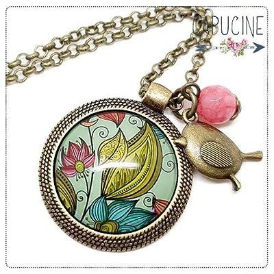 Sautoir bronze avec cabochon verre fleurs colorées vintage - Long collier rétro fleurs colorées - Fleurs d'Été