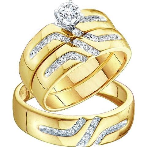 Los hombres de señoras 10K oro amarillo 0.28ct. Redondo Diamante Anillo de compromiso boda banda su su novia Trio Set