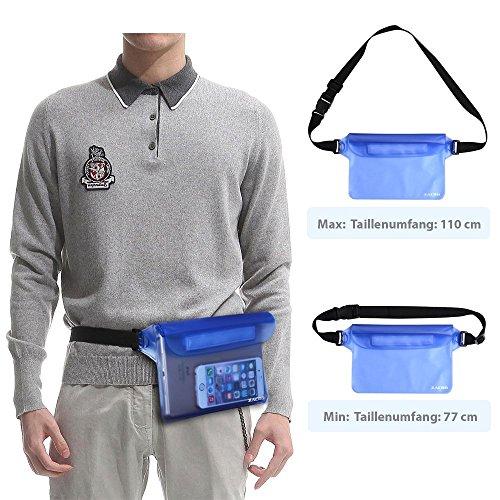 Zacro 2 Stück Wasserdichte Tasche mit Verstellbarem Gurt Wasserdichte Beutel Handyhülle Schutzhülle Strand-Tasche für Geld, Datenträger und Smartphones Ideal für Wassersport, Strand, Radfahren,Wandern Blau