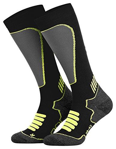 Tobeni Sport Kompressionsstrümpfe Lang Biking- Running- Skiing- Socken für Frauen und Männer Farbe Schwarz-Neon-Gelb Grösse 39-42