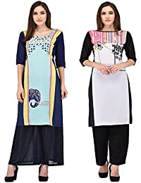 Style Badge Blue And Black Digital Printed Crepe Kurti Combo(PACK OF 2)