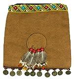 Indianer Handtasche mit Federn und Münzen - Braun - Umhängetasche Wilder Westen Karneval Mottoparty Indianerinkostüm