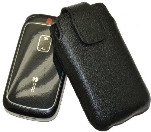 Original Suncase Tasche für / Panasonic KX-TU349 EXNE / Leder Etui Handytasche Ledertasche Schutzhülle Case Hülle / in vollnarbig-schwarz