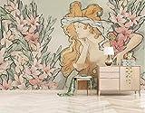 LONGYUCHEN Benutzerdefinierte 3D Wandbild Tapete Ölgemälde Stil Floral Europäischen Frauen Geeignet Für Schlafzimmer Wohnzimmer Hotel Wand Dekoration Seide Wandbild,60Cm(H)×120Cm(W)