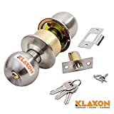 #7: Klaxon Stainless Steel Cylindrical Lock Set – Tubular Lock Set – Door Lock (Silver, Matte Finish, With Keys)