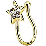 Piersando Fake Piercing Hoop Ring Clip on Klemmring Stern mit Kristall für Septum Tragus Helix Nase Lippe Ohr Intim Nippel Hufeisen Brust Gold