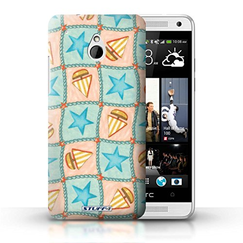 Kobalt® Imprimé Etui / Coque pour HTC One/1 Mini / Violettes/Vertes conception / Série Bateaux étoiles Turquoise/Orange