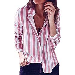 VJGOAL Moda Mujer Clásico Salvaje a Rayas Solapa Top Camiseta Suelta Manga Larga Top Blusa