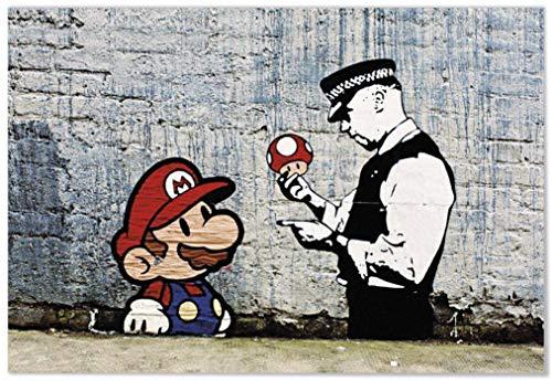 Panorama® poster stampe da parete graffiti banksy super mario 30 x 21 cm | stampato su carta 250 gr alta qualità | quadri moderni soggiorno | stampe da parete moderne | decorazione parete