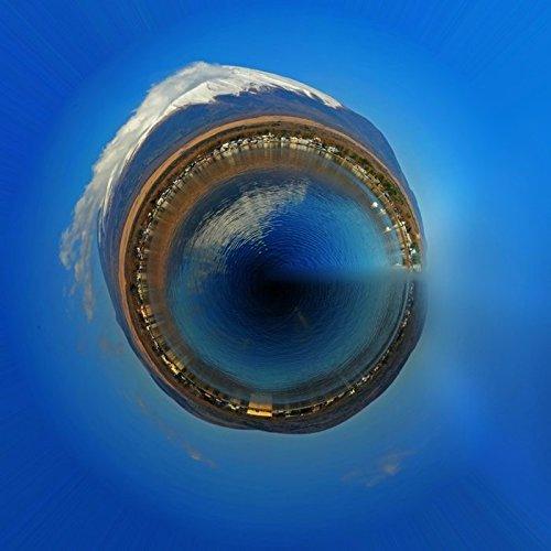 Acrylglasbild Hady Khandani - LITTLE PLANET - MOUNT FUJI AND LAKE YAMANAKA - JAPAN 2 - 110 x 110cm - Premiumqualität - HADYPHOTO, Fotografie - MADE IN GERMANY - ART-GALERIE-SHOPde (Lake Yamanaka Mount Fuji Japan)