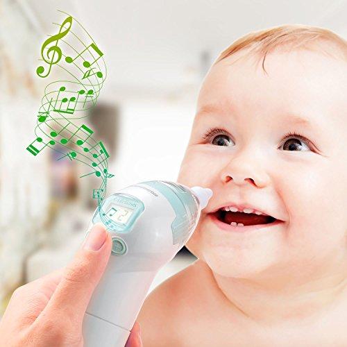 LifeBasis Baby Nasensauger Nasenschleimentferner Nase Reiniger 3 Betriebsstuffen mit Musik und Weicher Silikon Spitze Nasal Aspirator 100% Sicher für Neugeborene Baby und Kleinkinder - 6